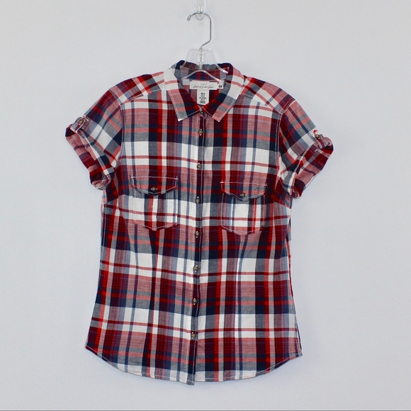 H&M Tops - 💘 H&M L.O.G.G. Short Sleeve Plaid Button Down Top